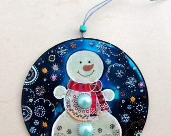 Snowman Decoration, hand painted CD, upcycled Christmas decor, upcycled CD, eco-friendly decor, handpainted CD, upcycled art
