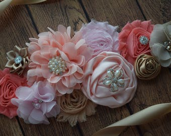Dream coral Sash, #2, flower Belt, maternity sash, wedding sash, flower girl sash, maternity sash belt