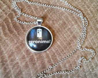 Geronimo Necklace, Doctor Who Necklace, Doctor Who Cosplay, Doctor Who acessories, whovian jewelry, doctor who, mat smith, 11th doctor, gift