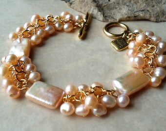 Pearl Cluster Bracelet.Biwa Baroque Pearl.Wedding.24K Gold Plate.Beadwork.Bridal.Rose Pink.Mauve.Valentine.Birthday.Prom.Dainty.Handmade.