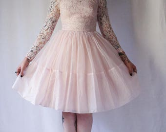 50s Perfect pink prom frock 1950s lace and chiffon ballerina dress