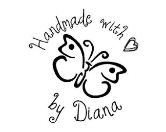butterfly hand made with love heart custom rubber stamp