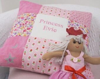 Patchwork Princess Cushion - Personalised Princess pillow - Pink Princess - Girlie Gift - Baby Girl Gift - Pink Stuff