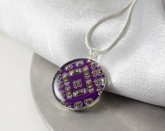 Circuit Board Necklace Purple, Violet Engineer Gift, Recycled Computer Jewelry, Scientist Necklace, Wearable Technology, Geeky Gift for Her