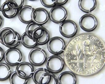 TierraCast Jump Rings, 5 mm. 16 Gauge Black Jumprings, Round Jump Rings, Chain Mail Finding, Antiqued Black, 5mm Jump Rings, 50 Pieces, 2013