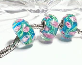 2 European blue glass beads and pink flowers, 4.5mm large hole charm bracelet