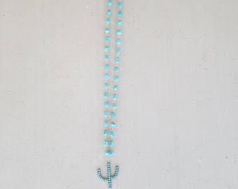 Cactus and Turquoise Necklace