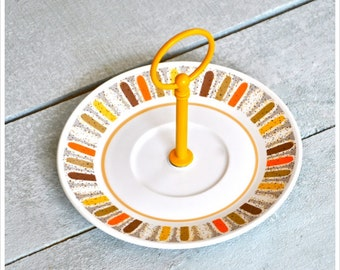Big Spin: Fall Colors Mini Cake Stand, Jewelry Stand, Soap Dish, Orange Brown Yellow White