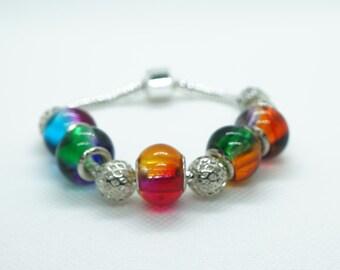 pandora charms, European, multicolor bracelet
