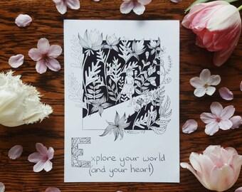 E is for Explore World Heart A5 Print Selfabet Self Care