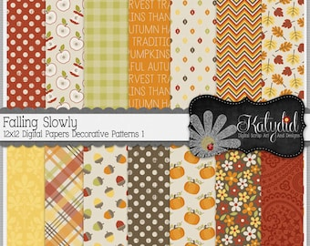 Fall Digital Paper Autumn Falling Slowly Digital 12x12 Patterns 1 Seasonal Papers and Backgrounds for INSTANT DOWNLOAD