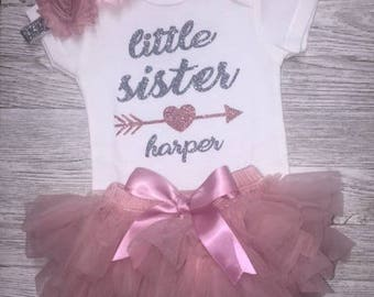 Little Sister Outfit   Rose Gold Glitter   Baby Girl Clothing    Baby Shower Gift   Take Home Outfit   New Sibling Outfit   New Baby Girl