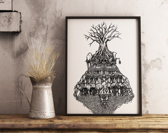 Temple Ink drawing, Giclee art print. Ink Illustration, Lovecraft, ink art, Fine art print, Black and white art, Original drawing, Surreal