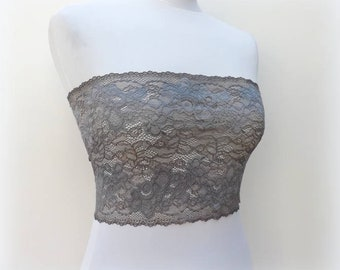 Gray lace bandeau top. Floral sheer lace strapless. Gray tube top. Gray lace lingerie. Gift for her.
