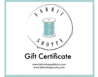 Gift for Quilter, Christmas Gift, 100 Dollar Gift Certificate, Printable Gift Card for the Fabric Shoppe, Instant Download and Print