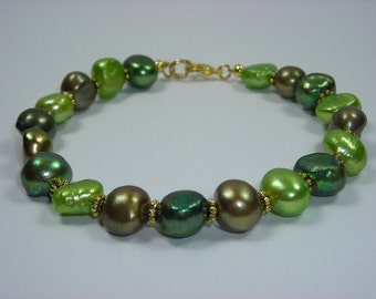 Green and Bronze Fresh Water Pearl Bracelet