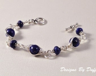 Lapis and Sterling Silver Wire Wrapped Bracelet