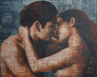 large oil painting couple kissing - original oil painting by Anita Dewitt - portrait and figurative fine artist