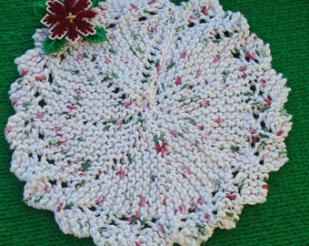 Custom Dishcloth Doily Washcloth  Unique Round all cotton, Your Color Choice