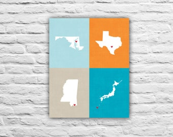 Choose Four Maps on One Print, Gift Ideas, Where We're From, Where We've Lived, Military Family Gift, Going Away, Farewell, Mom Dad Parents