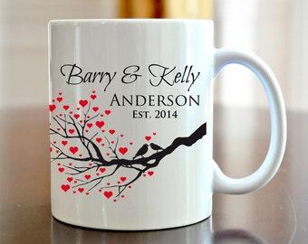 Personalized Coffee Mug Bride and Groom Wedding Love Bird Coffee Mug