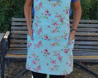 Mint Blue Apron with Pink Blossoms