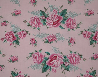 Paris Bebe Fabric Cottage Rose Swag Pink by Robin Mynatt out of print by the yard