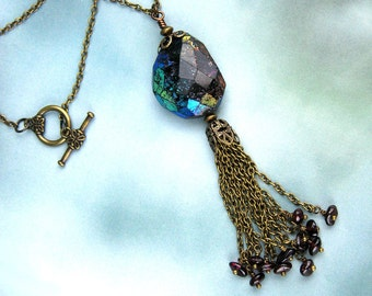 Garnet Pendant, Aurora Borealis Garnet, Faceted Rough Stone, Brass Chain Tassels, Garnet Crystals, Ruby Color, January Birthstone, Mystical