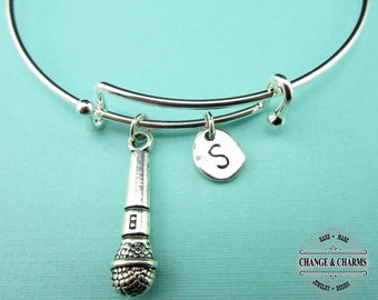 Microphone Bangle, Microphone Bracelet, Music Bracelet,Singer,Musician,Charm Bracelet,Initial Charm,Silver Plated,Personalized Bangle,CMU004