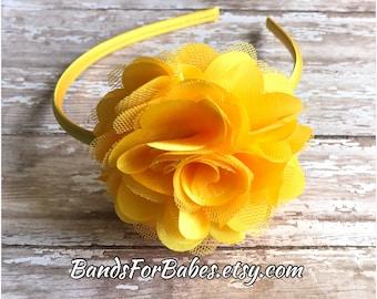 Large Yellow Satin and Tulle Flower Headband, Golden Yellow Hair Accessory, Girls Basic Headband, Toddler Hair Bow, Satin Wrapped Headband