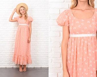 Vintage 60s Peach Maxi Dress Butterfly Print Prairie Boho Hippie XS 10366