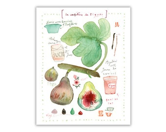 Fig marmalade recipe print, Botanical poster, Food artwork, Kitchen decor, Summer fruit art, Watercolor painting, Fig illustration, Fig leaf