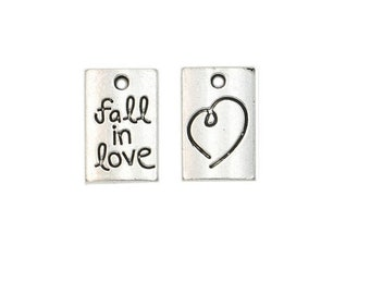 "SET of 3 charms rectangle engraved heart and ""fall in love"" silver ' D48)"