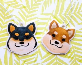 Shiba inu air freshener - double sided car freshener red shiba black shiba- vanilla scent air freshener dog shaped car accessory
