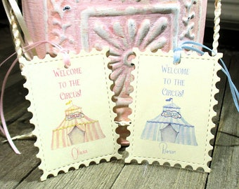 Birthday Favor Tags - Set of 20 - Favors - Welcome to the circus - Personalized - Baby - Child - Baby Shower - Pink - Blue - Trending