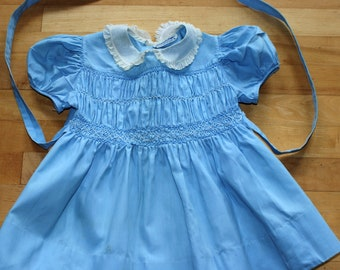 1950s Blue  Marshall Field Company Kindergarten Shop Hand Smocked Toddler Girl Dress Back Tie and Pleats - SZ. 4T