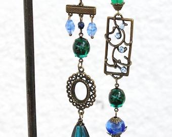 Earrings Oceans Mystery Boho Chic Bronze glass beads asymmetric blue green Chandeliers long hippie unique flower