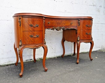 French Inlay Carved Kidney Shape Desk Vanity Table 9057