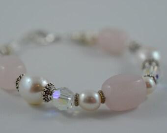 Chunky Fresh Water Pearl, Pink Quarts, Swarovski Crystal Bracelet
