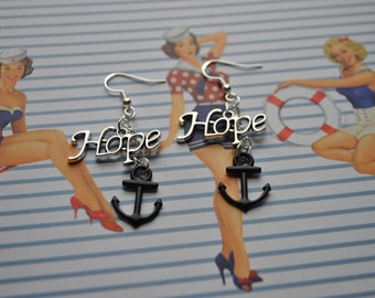 Hope and Anchor Earrings // Nautical Earrings // Alternative  // Rock / Anchor Earrings // Rockabilly Earrings // Hope Earrings