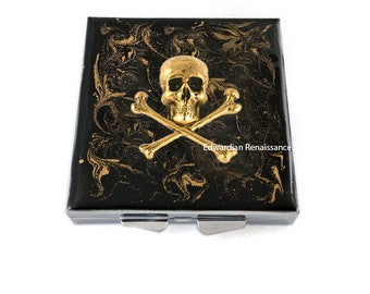 Skull and Crossbones Metal Pill Box Inlaid in Hand Painted Enamel Black with Gold Swirl Design Color with Personalized Options Available