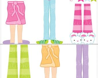 Pajama Feet Cute Digital Clipart for Card Design, Scrapbooking, and Web Design