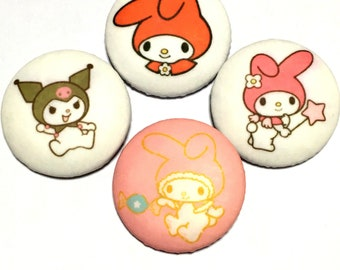 "covered button set  ""sanrio my melody and kuromi-ish"" kawaii button"