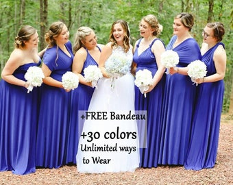 Royal Blue Bridesmaid dress, Mix and Math bridesmaid dress, Multiwrap dress convertible dress, maternity gown, multiway dress, party dress