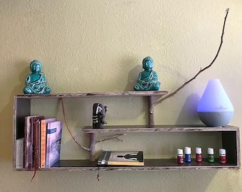 Double step reclaimed branch wood shelf