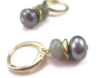 Gold Hoop Gray Pearl Earrings with Gemstone Drops and 14K Gold Fill Round Leverback