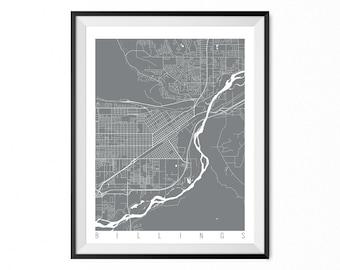 BILLINGS Map Art Print / Montana Poster / Billings Wall Art Decor / Choose Size and Color