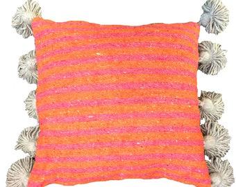 LINA Striped Moroccan cotton pillow cover - BLUSH CORAL