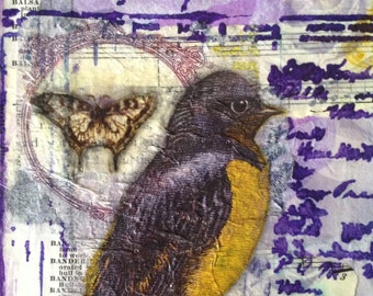 Original mixed media recycled book cover art plaque  | ephemera  | Embrace the Day | robin | butterfly