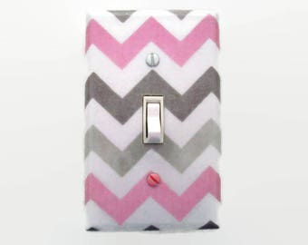 Chevron Light Switch Cover - Pink and Grey Nursery Decor - Girls Nursery - Decorative Switchplate - Girl Wall Decor - Girls Bedroom Baby